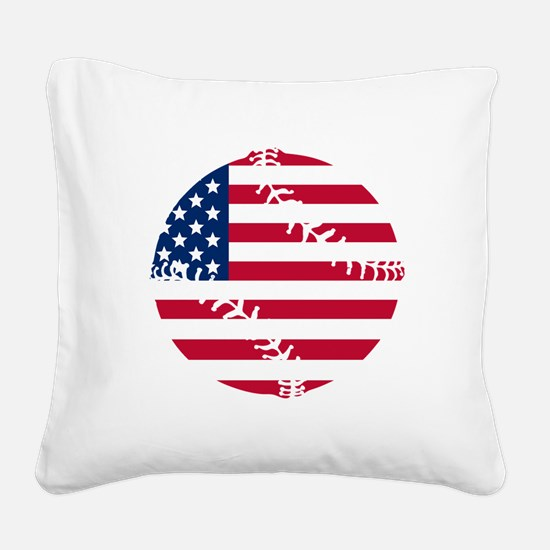 American Flag Baseball Square Canvas Pillow