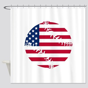 American Flag Baseball Shower Curtain