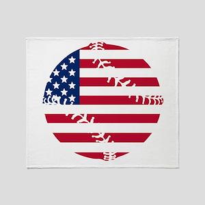 American Flag Baseball Throw Blanket