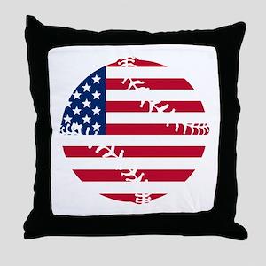 American Flag Baseball Throw Pillow