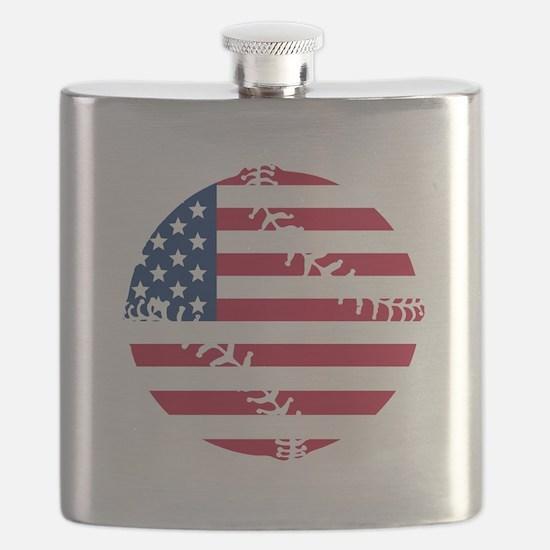 American Flag Baseball Flask