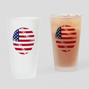 American Flag Baseball Drinking Glass