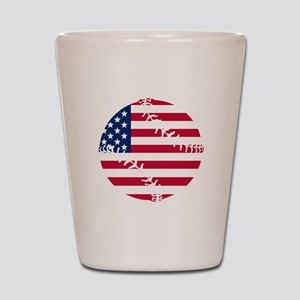 American Flag Baseball Shot Glass