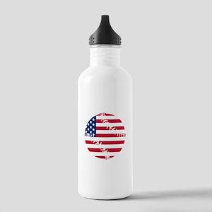 American Flag Baseball Water Bottle