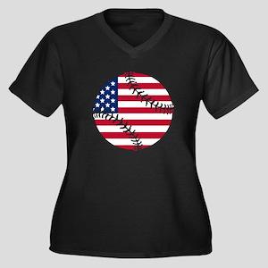 American Flag Baseball Plus Size T-Shirt