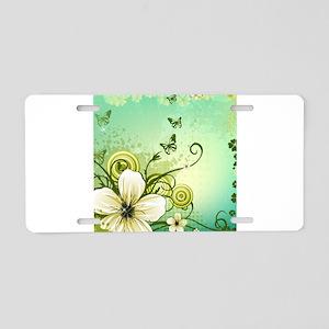 Flower and Butterflies Aluminum License Plate