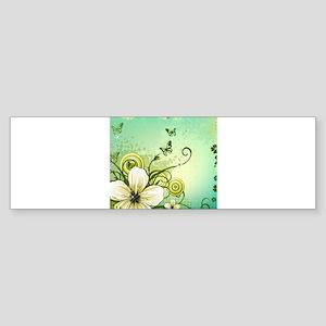 Flower and Butterflies Bumper Sticker