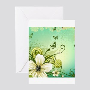Flower and Butterflies Greeting Cards