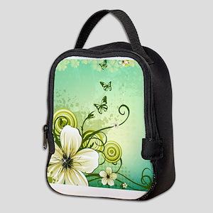 Flower and Butterflies Neoprene Lunch Bag