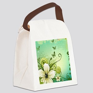 Flower and Butterflies Canvas Lunch Bag