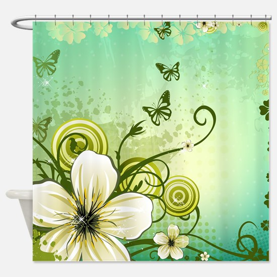 Flower and Butterflies Shower Curtain