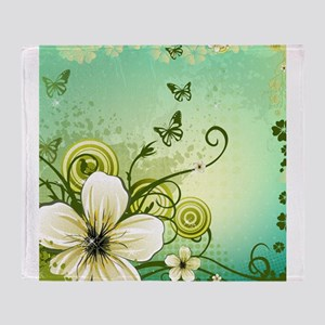 Flower and Butterflies Throw Blanket