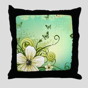 Flower and Butterflies Throw Pillow