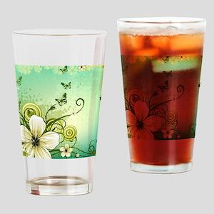 Flower and Butterflies Drinking Glass