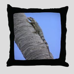 iguana on a tree trunk Throw Pillow