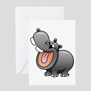 Cartoon Hippopotamus Greeting Cards