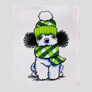 Parti Poodle Scarf Throw Blanket