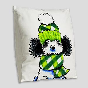 Parti Poodle Scarf Burlap Throw Pillow