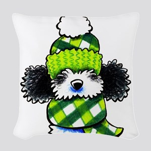Parti Poodle Scarf Woven Throw Pillow