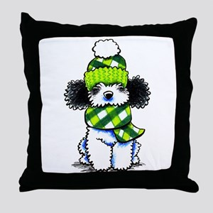 Parti Poodle Scarf Throw Pillow