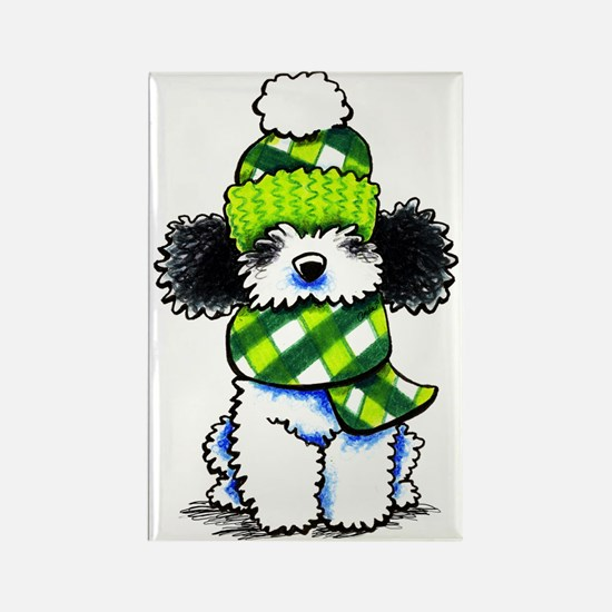 Parti Poodle Scarf Rectangle Magnet
