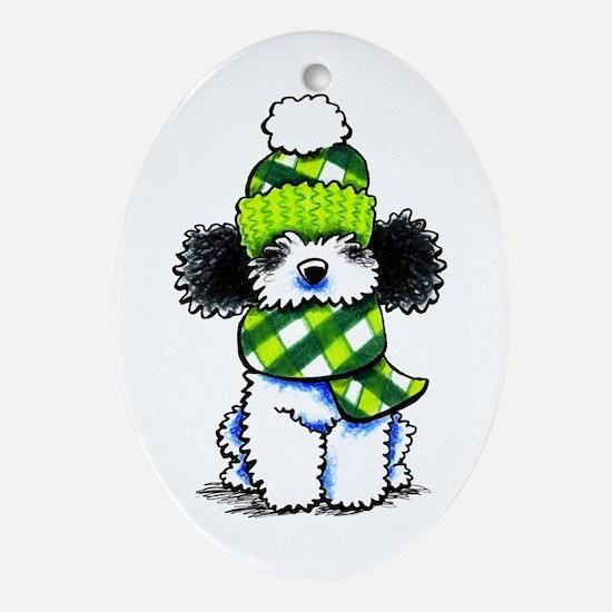 Parti Poodle Scarf Ornament (Oval)