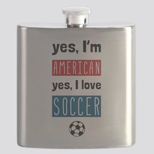 Yes Im American Yes I Love Soccer Flask