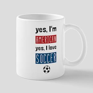 Yes Im American Yes I Love Soccer Mugs