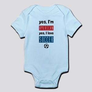 Yes Im American Yes I Love Soccer Body Suit