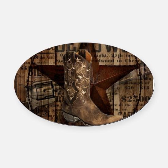 western cowboy Oval Car Magnet