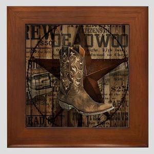 western cowboy Framed Tile