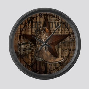 western cowboy Large Wall Clock