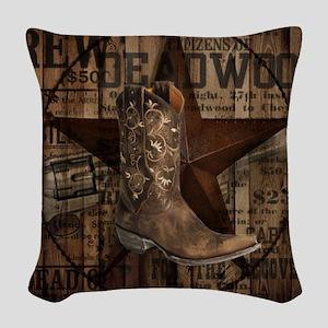 western cowboy Woven Throw Pillow