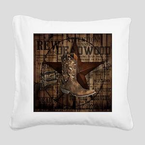 western cowboy Square Canvas Pillow
