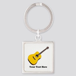Guitar Personalized Square Keychain