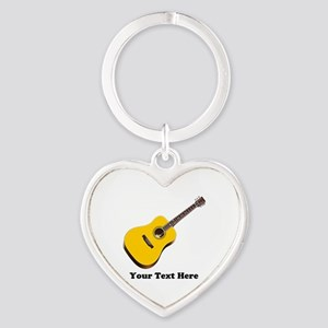 Guitar Personalized Heart Keychain