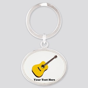 Guitar Personalized Oval Keychain