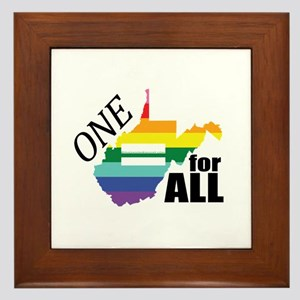 West Virginia one equality blk font Framed Tile