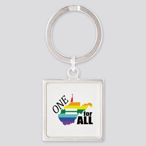 West Virginia one equality blk font Keychains