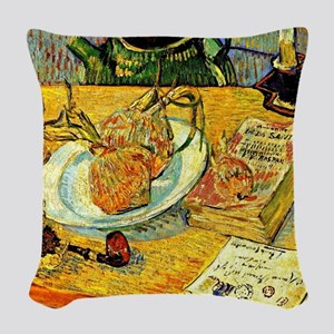 Van Gogh - Still Life with Dra Woven Throw Pillow