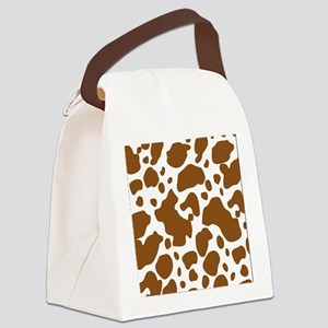 Brown Spot Pattern Canvas Lunch Bag