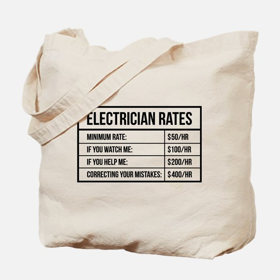 Electrician Rates Tote Bag