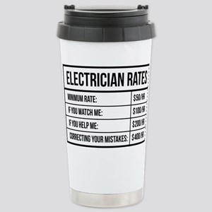 Electrician Rates 16 oz Stainless Steel Travel Mug