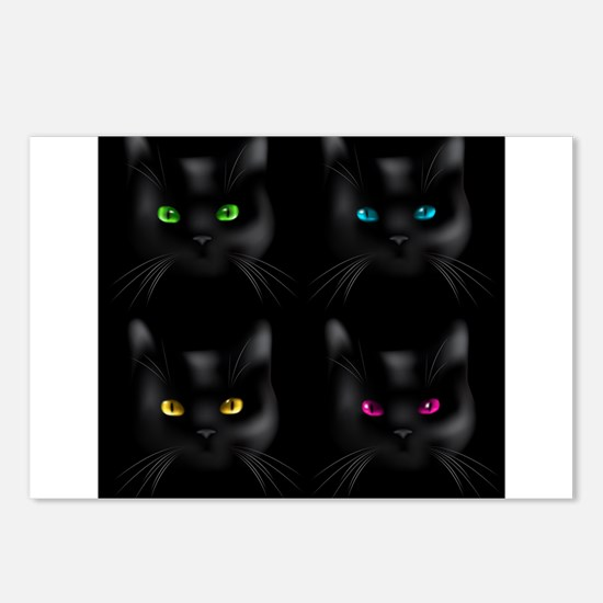 Black Cat Pattern Postcards (Package of 8)