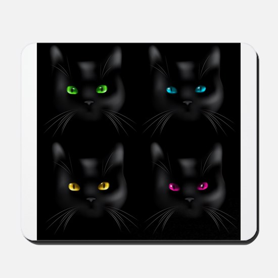 Black Cat Pattern Mousepad