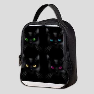 Black Cat Pattern Neoprene Lunch Bag