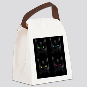 Black Cat Pattern Canvas Lunch Bag