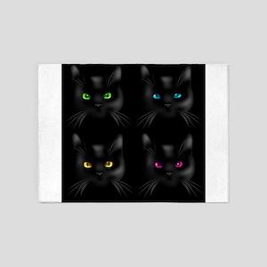 Black Cat Pattern 5'x7'Area Rug