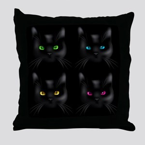 Black Cat Pattern Throw Pillow