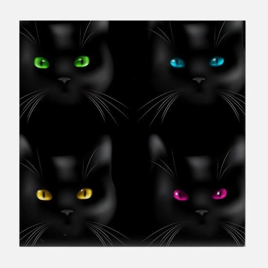 Black Cat Pattern Tile Coaster